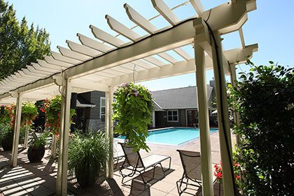The lounge by the pool at our Hillsboro apartments