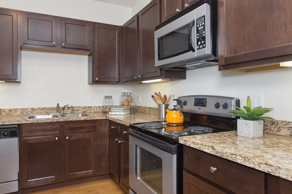 Granite counter-tops and double vanities in our Richardson apartments