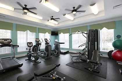 The fitness center at our Greer apartments