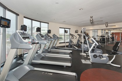 The fitness center at our Houston TX apartments