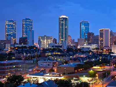Evening view of downtown Fort Worth, TX.