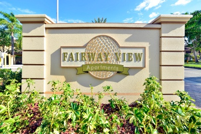 Monument sign at apartments for rent at Fairway View Apartments.