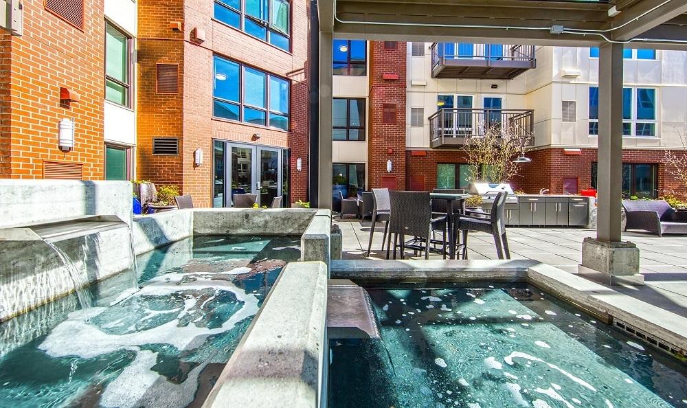 Fountain in courtyard The Meyden Bellevue WA