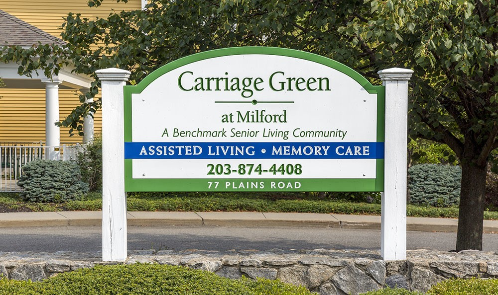 Our sign at the entrance of Carriage Green at Milford in Milford, CT