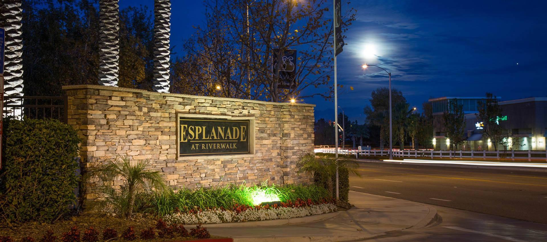 Signage at Esplanade Apartment Homes in Riverside, CA