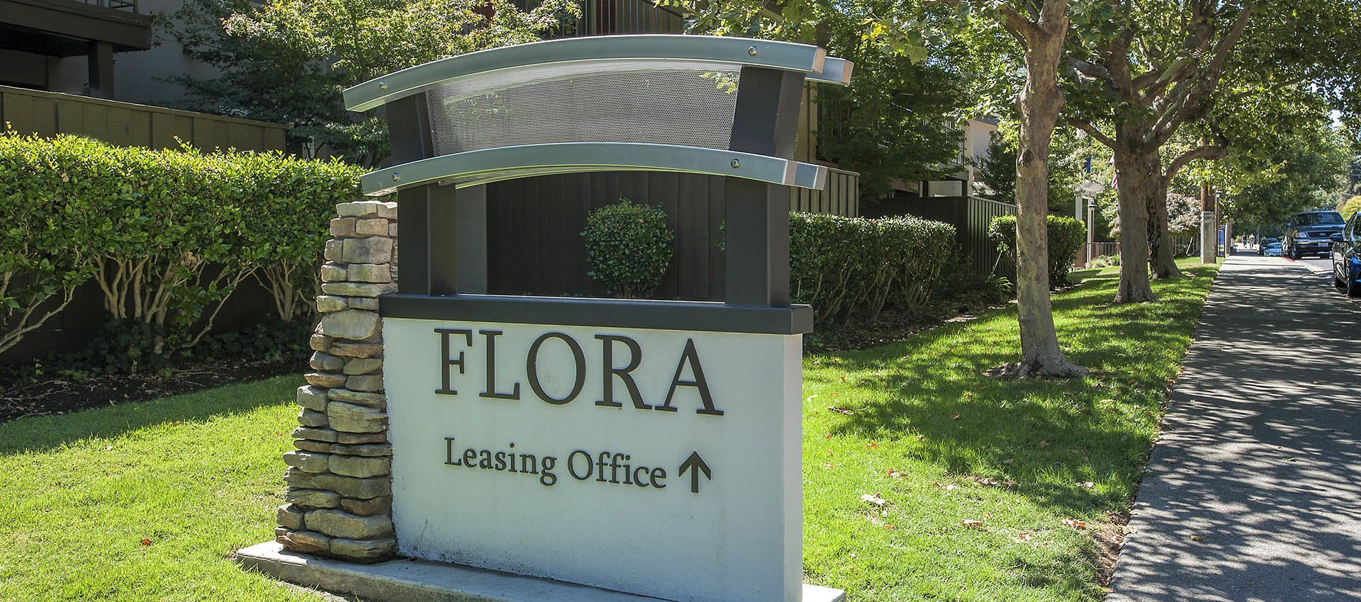 Signage at Flora Condominium Rentals in Walnut Creek, CA