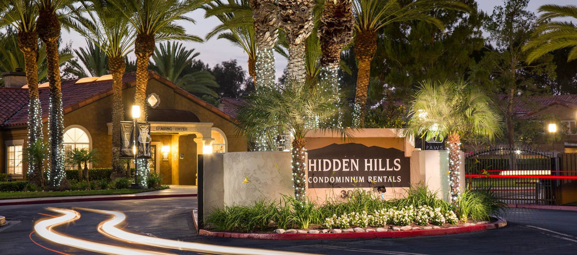 Signage at Hidden Hills Condominium Rentals in Laguna Niguel, CA
