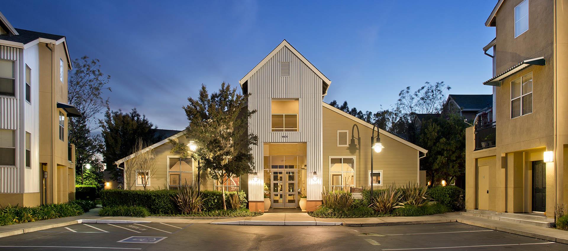 Leasing Office At Night at Azure Apartment Homes in Petaluma, CA