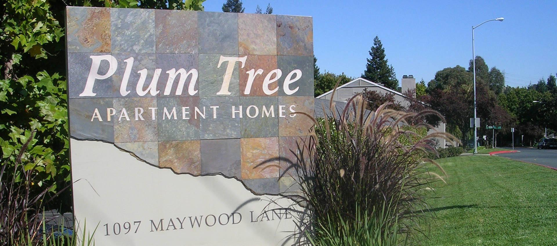 Signage at Plum Tree Apartment Homes in Martinez, CA