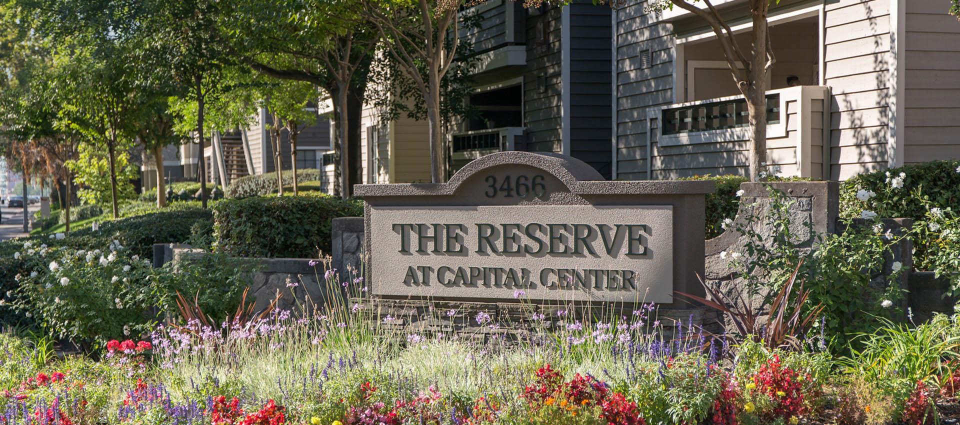 Signage at Reserve at Capital Center Apartment Homes in Rancho Cordova, CA