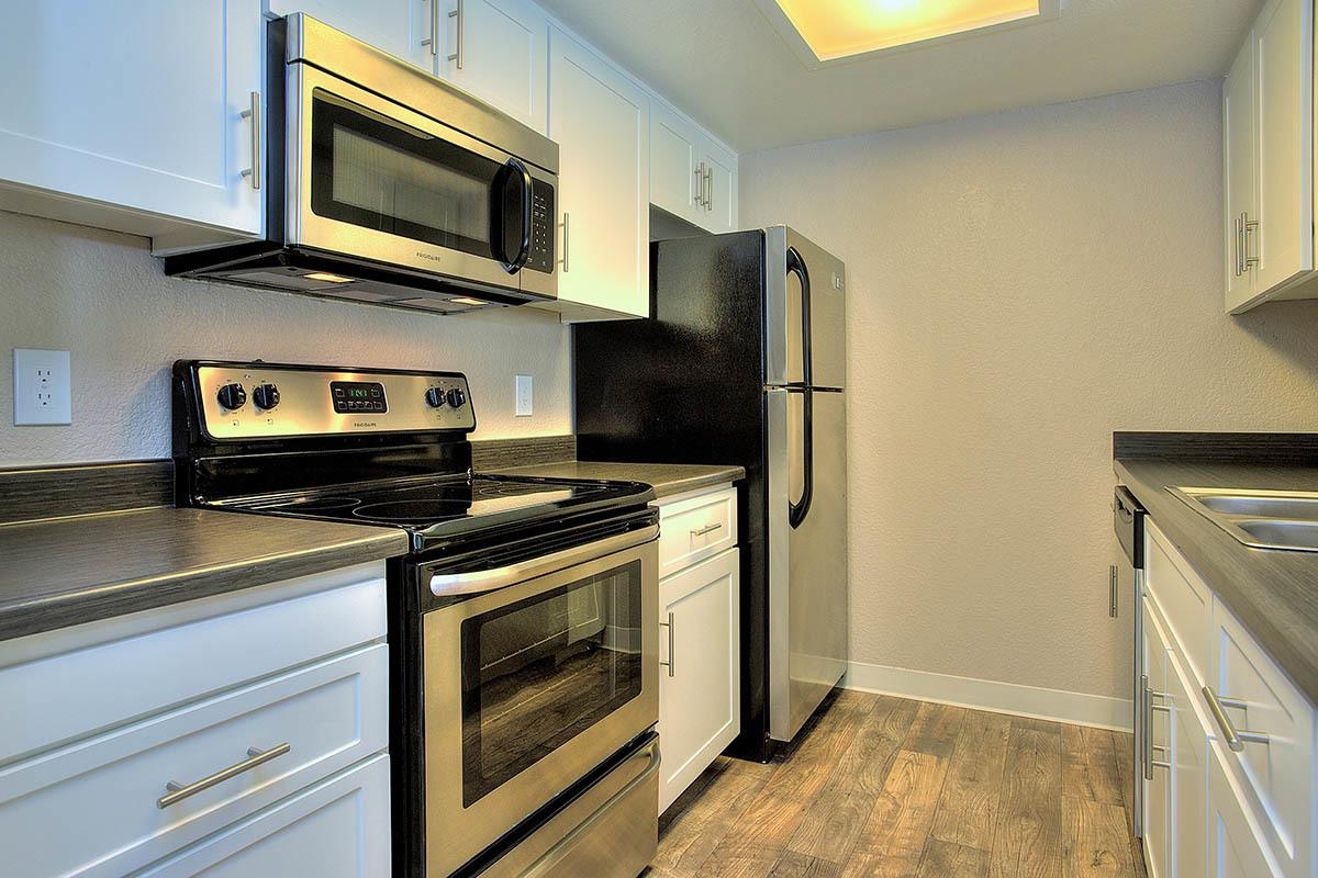 Kitchen floor plans layout at Sandpiper Village Apartment Homes in Vacaville