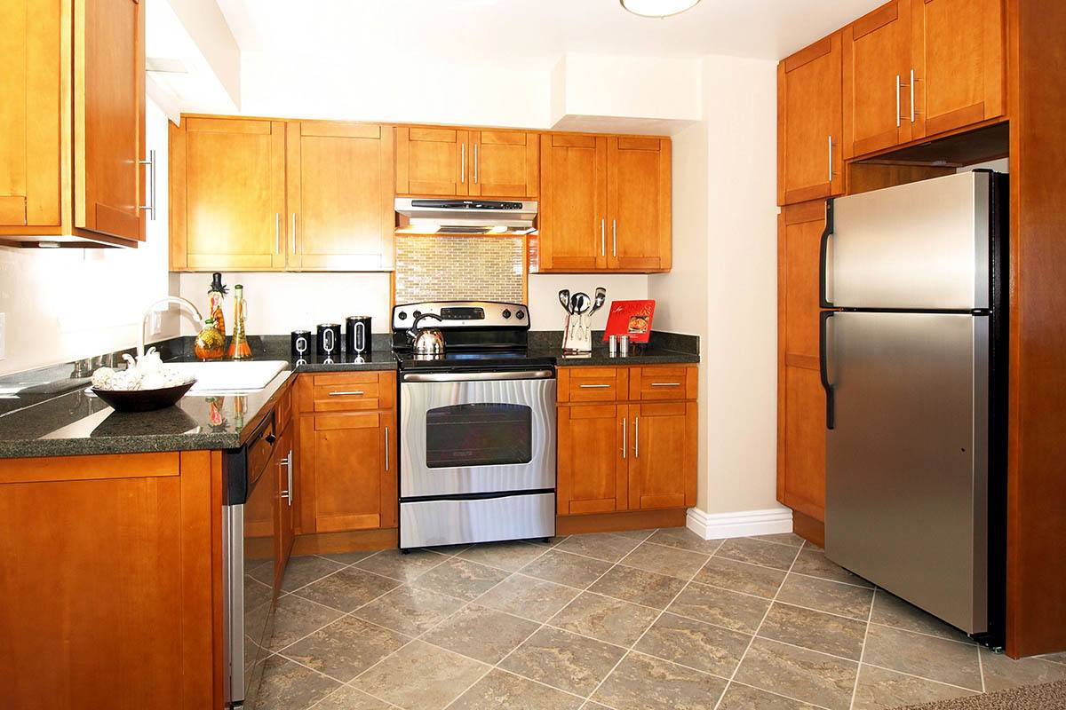 Kitchen floor plans layout at Spring Lake Apartment Homes in Santa Rosa