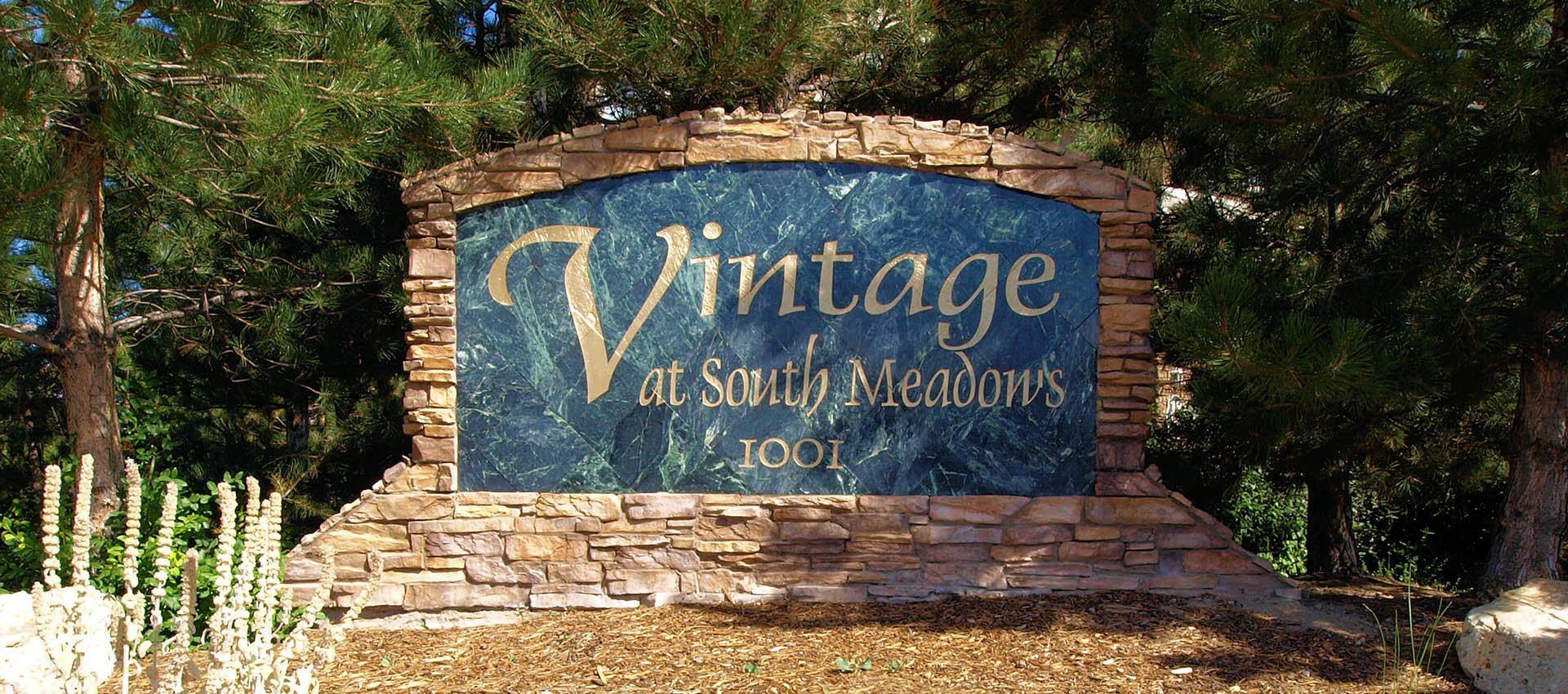 Signage at The Vintage at South Meadows Condominium Rentals in Reno