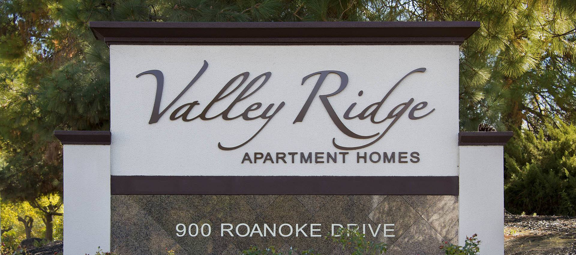 Signage at Valley Ridge Apartment Homes in Martinez, CA